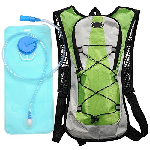 KLAREN Hydration Pack Water Rucksack Backpack Bladder Bag Cycling Bicycle Bike/Hiking Climbing Pouch + 2L Hydration Bladder Green