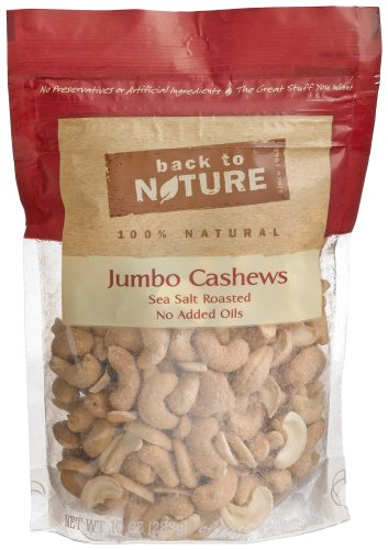 Back To Nature Jumbo Cashews, Sea Salt, Roasted, No Added Oils, 10-Ounce Pouches (Pack of 3)
