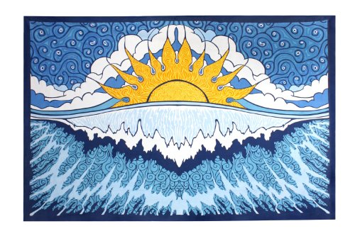 Sun Wave Indian Tapestry - Hanging Wall Art - Great for Apartments, Dorms, Homes, and Office