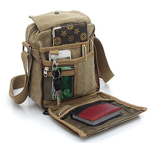EcokakiTM-Canvas-Small-Messenger-Bag-Casual-Shoulder-Bag-Travel-Organizer-Bag-Multi-pocket-Purse-Handbag-Crossbody-Bags