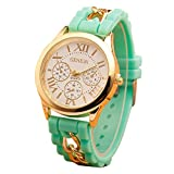 Mujer cuarzo reloj de la jalea dorado silicona reloj para Hombres Unisex negro Navidad feliz cumplea�os regalo - ofertas studyingstore Mint Green A