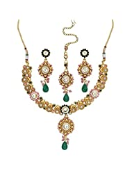 Seasons4 Pink Metal Choker Necklace-Earring Set For Women-NA10A198