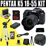 51LHsvZMMyL. SL160  Pentax K 5 16.3 MP Digital SLR with 18 55mm Lens and 3 Inch LCD (Black) + DLI90 Battery + 16GB SDHC DavisMAX Accessory Kit Bundle