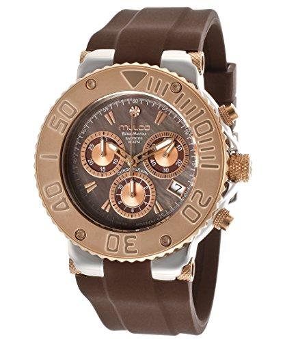 Mulco mw3 - caja de acero inoxidable 70602-035 40 de plástico de color marrón de hombre y de mujer de cuarzo reloj de pulsera para mujer