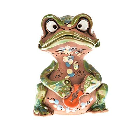 """art-030803 Spardose """"Frosch mit Gitarre"""", Handarbeit"""