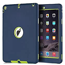 iPad Air Case (2013 Release) TOPSKY Shock-Absorption / High Impact Resistant Hybrid Three Layer Armor Defender Protective Case Cover for Apple iPad Air (iPad 5) 2013 Model, Navy Blue/Lemony Yellow