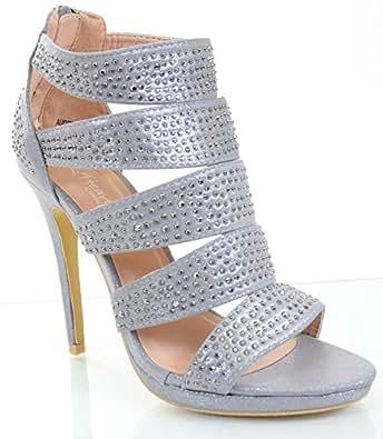 Amazon.com: Jeweled Beaded Caged Platform Heels Slide