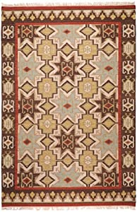 8' x 11' Four Corners Southwest Tan Red and Brown Hand Woven Wool Area Throw Rug
