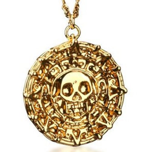 Sunkee Pirates of the Caribbean Aztec Shiny Gold Plated Oin Pendant Necklace