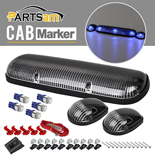 Partsam 3xClear Cab Roof Top Clearance Lights+2825 5050 Blue LED for 2002-2007 Chevy/GMC (06 Gmc Sierra Cab Roof Lights compare prices)
