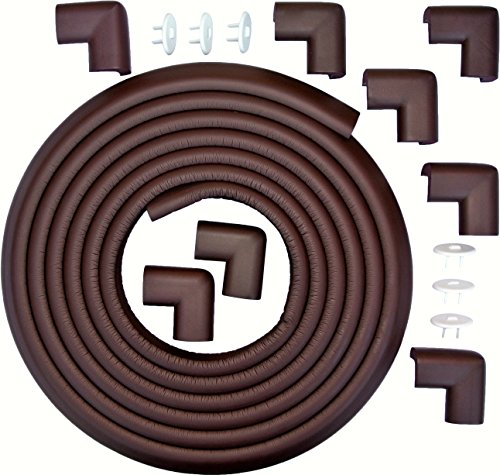 SUPER PREMIUM 20.4 Ft of Edge And Corner Guards (Includes 8 PRE-TAPED Corner Guards). Stylish Brown Color PLUS 6-Pack Home Safety Electric Plug Protectors. Keep Toddlers Safe While They Learn to Walk