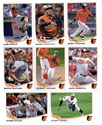 2013 Topps Baseball Baltimore Orioles Complete Team Set ( 22 cards) - L.J. Hoes Rookie, Manny Machado Rookie, 2012 AL Wild Card, Luis Ayala, robertino, Brian Matusz, Endy Chavez, Jake Arrieta, Chris Davis, Adam Jones, Jim Johnson, Tommy Hunter, Mark Reyno