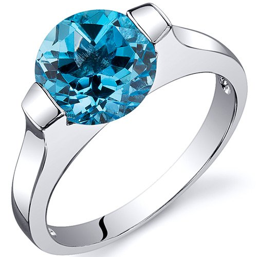 Revoni Bezel Set 2.25 carats Swiss Blue Topaz Engagement Ring in Sterling Silver