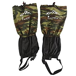 Generic Waterproof Outdoor Climbing Snow Legging Gaiters Leg Cover Wrap Camo Black