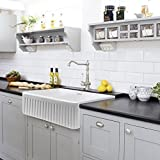 "30"" Single Bowl Fireclay Apron Farmhouse Kitchen Sink, White, Undermount or Overmount Sink, Fluted"