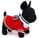 ワンちゃん の オシャレ に 小型犬 用 犬 服 ドッグ ウェア マリン セーター 風 (M レッド)