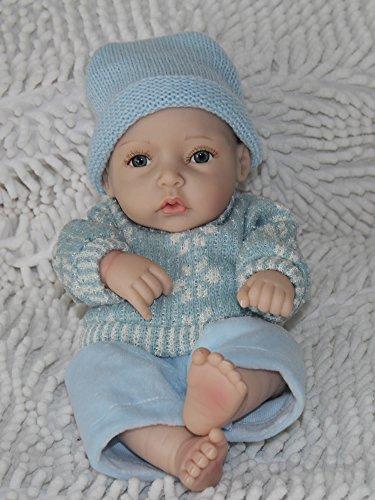 Nicery Rinato Bambino Bambola Vinile dura del silicone 11 pollici 28cm Realistico Impermeabile Bambina Giocattolo Maglione Blue Ragazzo