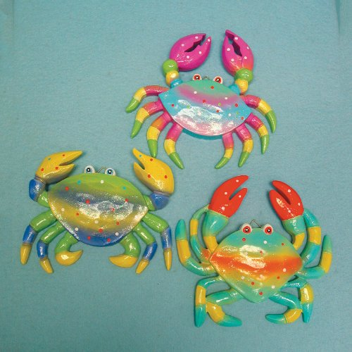 Set of 3 Bright Wood Crabs - Beach Nautical Crab New