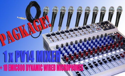 Package Peavey Pv14Usb 14-Channels Mixing Recording Console With Usb And Dsp Effects + 10 Wired Micorphones