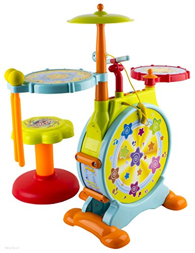 wolvol electric big toy drum set for kids with movable microphone to sing and a chair tons of. Black Bedroom Furniture Sets. Home Design Ideas