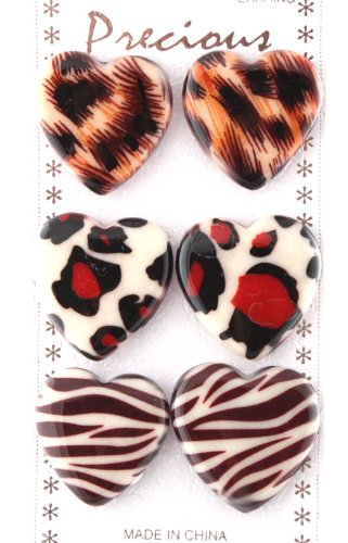 Ladies Unique Multicolored Heart Shape with Cheetah Animal Print Style Clip On Earrings