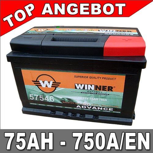 Autobatterie 75Ah 750A +30% mehr Leistung Starterbatterie