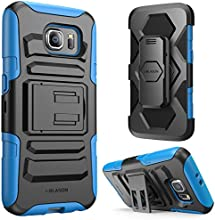 Galaxy S6 Case, i-Blason Prime [Kickstand] Samsung Galaxy S6 2015 Release **Heavy Duty** [Dual Layer] Combo Holster Cover case with [Locking Belt Swivel Clip] (Blue)