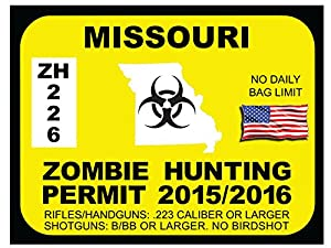 Missouri zombie hunting permit bumper sticker for Mo fishing license