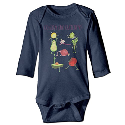 [Go With The Avocado Cute Boy And Girl Infants Romper Jumpsuit 18 Months Navy] (Dances With Wolves Costumes Designer)