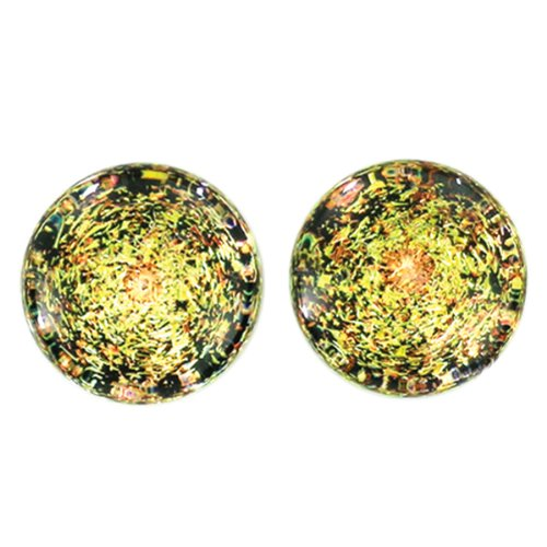 Copper Gold Foil Galaxy Glass Plugs - Double Flare - 9/16