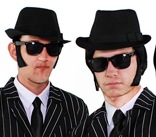 2 x Blues Brothers Costume Sets. 4 pieces in each inc. Quality fedora hat, black shades, sideburns and black tie.