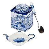 Spode - Blue Italian 3 Piece Set - Tea Caddy & Spoon, Spoon Rest