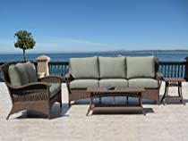 Hot Sale Havana Brown Outdoor Patio Resin Wicker Sofa Loveseat 4 Piece Set with Sunbrella Fabric