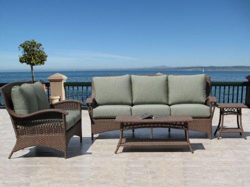 Havana Brown Outdoor Patio Resin Wicker Sofa Loveseat 4 Piece Set with Sunbrella Fabric