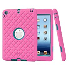 buy Ipad Mini Flashing Case, Vivi Unique Studded Rhinestone Crystal Bling Design Soft Ipad Mini 3 In1 Hybrid Shockproof Protective Sparkling Diamond Cover Case Armor For Apple Ipad Mini 3/ 2/ 1 (Red)