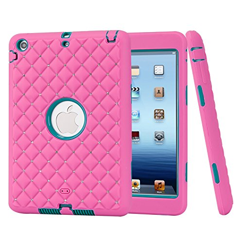 iPad Mini Case, iPad Mini1/ 2/ 3 Case, Speedup Diamond Studded Crystal Rhinestone 3 in 1 Bling Hybrid Shockproof Cover Silicone and Hard PC Case For Apple iPad Mini 3 / 2 / 1 (Rose Red / Teal) (Ipod Touch Loop Space Gray compare prices)