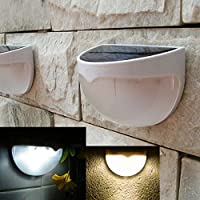 Tiny Deal 6-Led 18Lm Solar Powered Light Control Energy Saving Wall Lamp Road Lamp Garden Lamp - White / Warm White