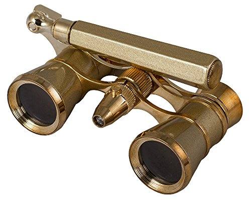 Levenhuk Broadway 325N Opera Glasses (gold lorgnette with LED light) 3x with accessory kit