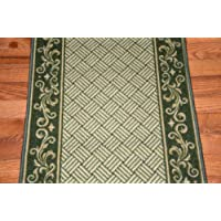 Dark Spring Green Scroll Border Washable Non-Skid Carpet Rug Runner - Purchase by the Linear Foot