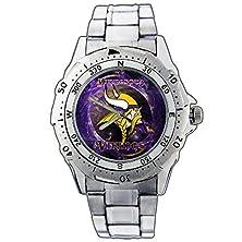 buy Men'S Wristwatches Pe01-2287 Minnesota Vikings Helmet Cool Stainless Steel Wrist Watch