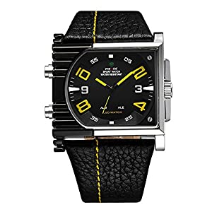 Mens Cool Analog-LED Dual Time Display 30ATM Waterproof Wrist Sports Watch (Yellow)