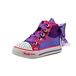 Skechers Kids Shuffles-Pixie Bunch Light-Up Sneaker,Purple/Hot Pink,6 M US Toddler