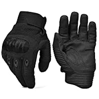 Army Military Hard Knuckle Tactical Combat Gloves Motorcycle Motorbike ATV Riding Full Finger Gloves for Men Airsoft Paintball Sport Biker Black Color from REEBOW TACTICAL