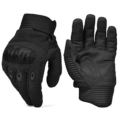 Army Military Hard Knuckle Tactical Combat Gloves Motorcycle Motorbike ATV Riding Full Finger Gloves for Men Airsoft Paintball Sport Biker Black Large