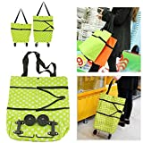 #3: Reusable Folding Trolley Bag Large Oxford Cloth Grocery Cart Shopping Tote Bag HandBag with Wheels