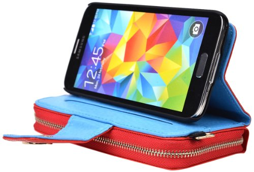 Kroo Magnetic Clutch Wallet For Samsung Galaxy S5 - Frustration-Free Packaging - Red