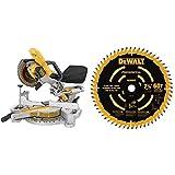 DEWALT DCS361B 20V Max Cordless Miter Saw (Tool Only) with DEWALT DW7116PT DEWALT DW7116PT 60T Precision Trim Miter Saw Blade, 7-1/4