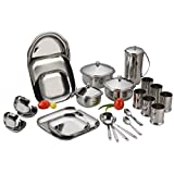 Aristo Dezire Square Stainless Steel Dinner Set, 51 Pcs