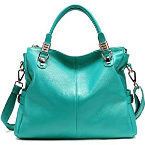 JiYe Womens 2P0951 1st Genuine Leather Leisure Shoulder Bag Water Blue