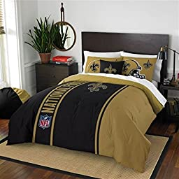 New Orleans Saints Full Comforter & Shams Set, NFL Boys 3 Piece Bedding